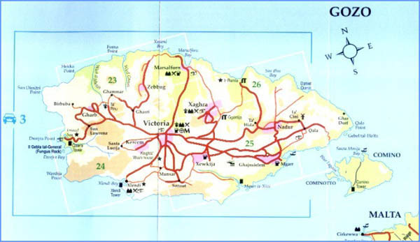 Large road map of north Malta. North Malta large road map.