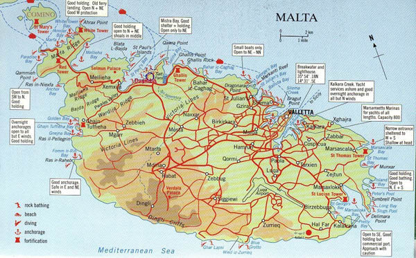 Large road map of south Malta. South Malta large road map.