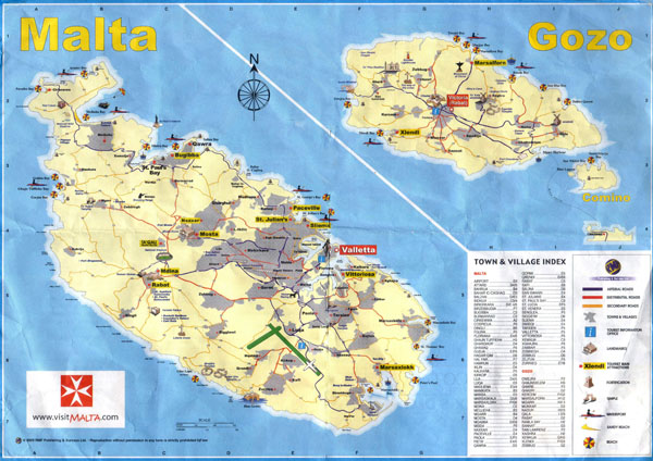 Large scale tourist map of Malta with roads and cities.