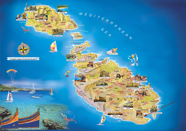 Large tourist map of Malta. Malta large tourist map.