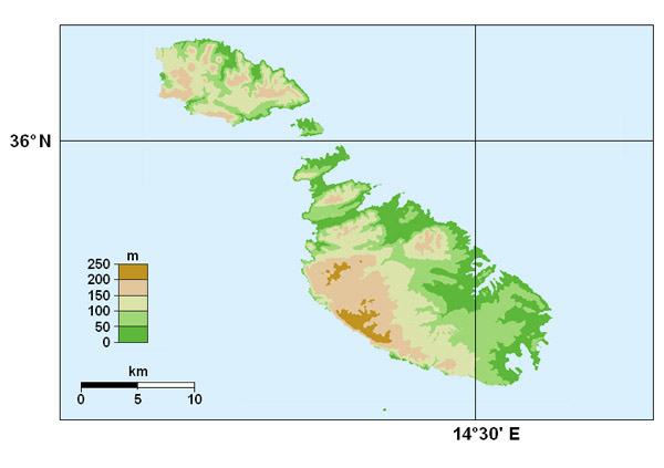 Topographical map of Malta. Malta topographical map.