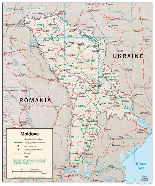 Large detailed political and administrative map of Moldova with relief, roads and cities - 2001.