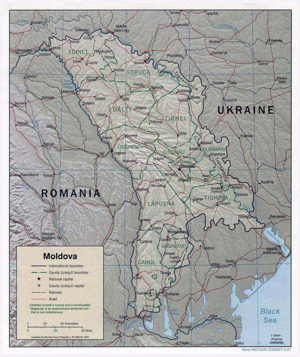 Large political and administrative map of Moldova with relief, roads and major cities - 2001.
