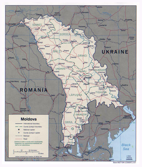 Large political and administrative map of Moldova with roads and major cities - 2001.