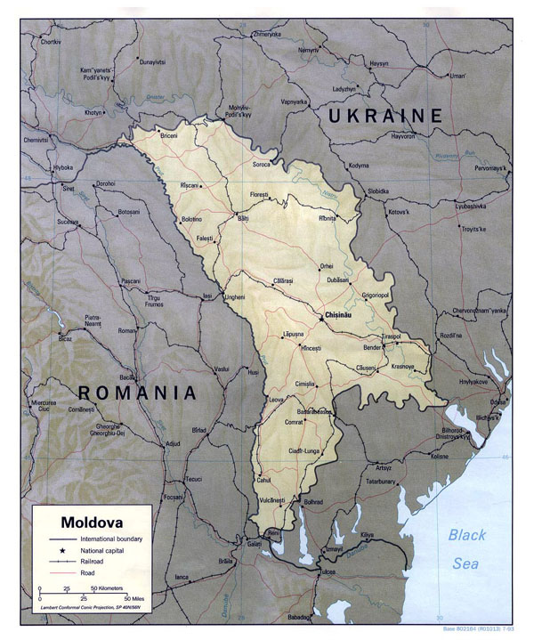 Large political map of Moldova with relief, roads and major cities - 1993.