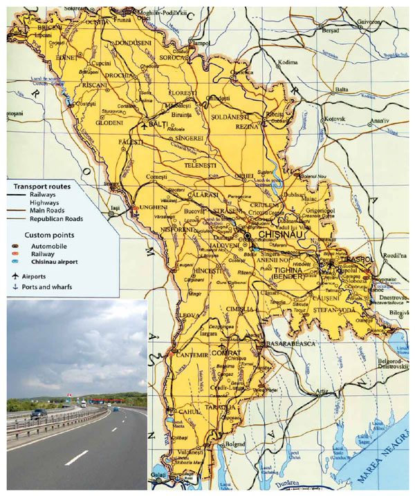 Large roads and railways map of Moldova with cities.