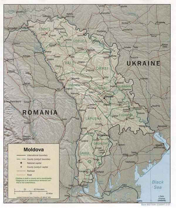 Relief and administrative map of Moldova.