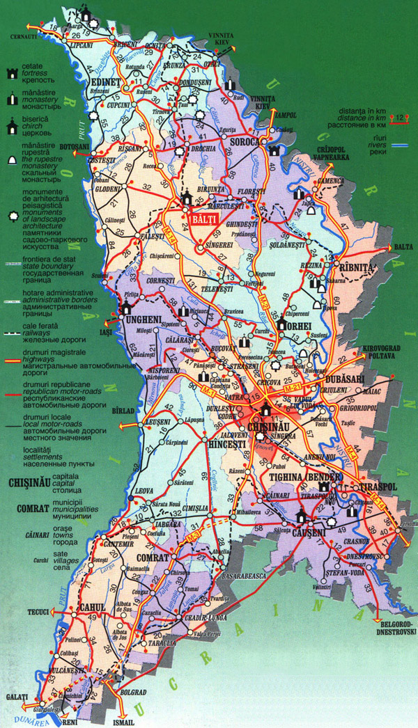 Road and travel map of Moldova. Moldova road and travel map.