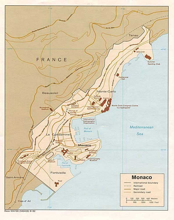 Detailed political map of Monaco. Monaco detailed political map.
