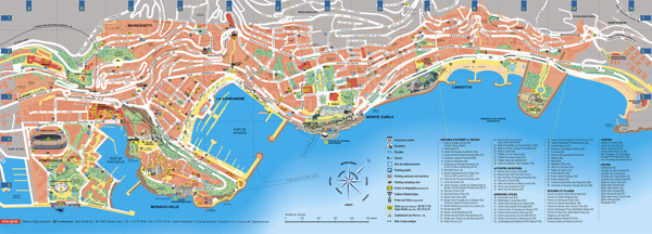 Detailed road and tourist map of Monaco.