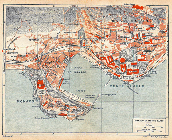 Large detailed old map of Monaco, Monte Carlo - 1921.