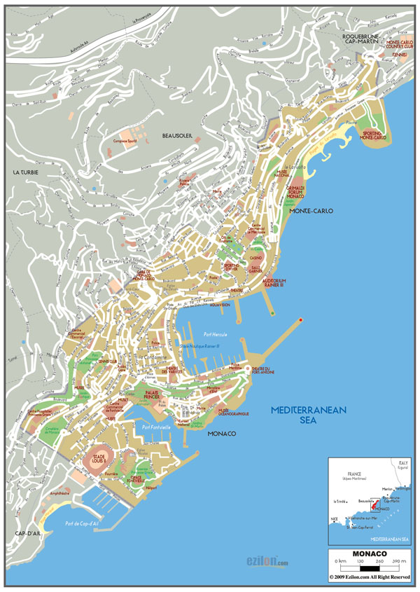 Large detailed roads map of Monaco.