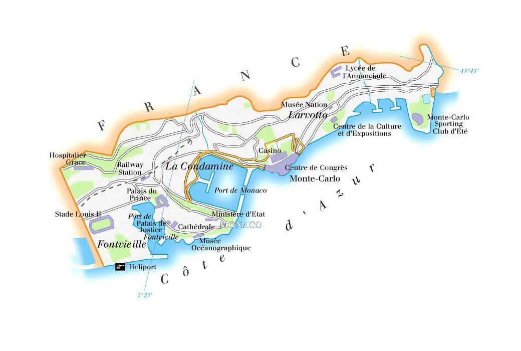 Large map of Monaco Monaco large map Vidianicom Maps of all