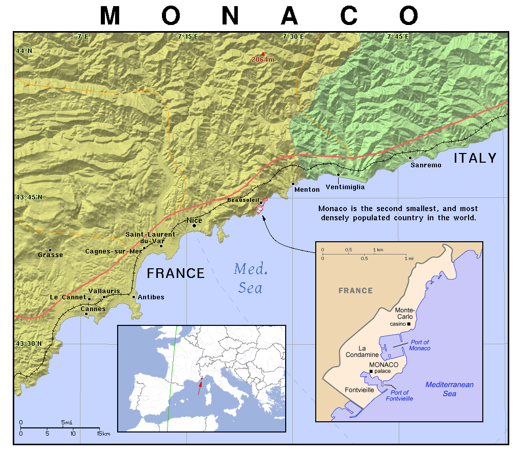 Monaco Regionen Karte