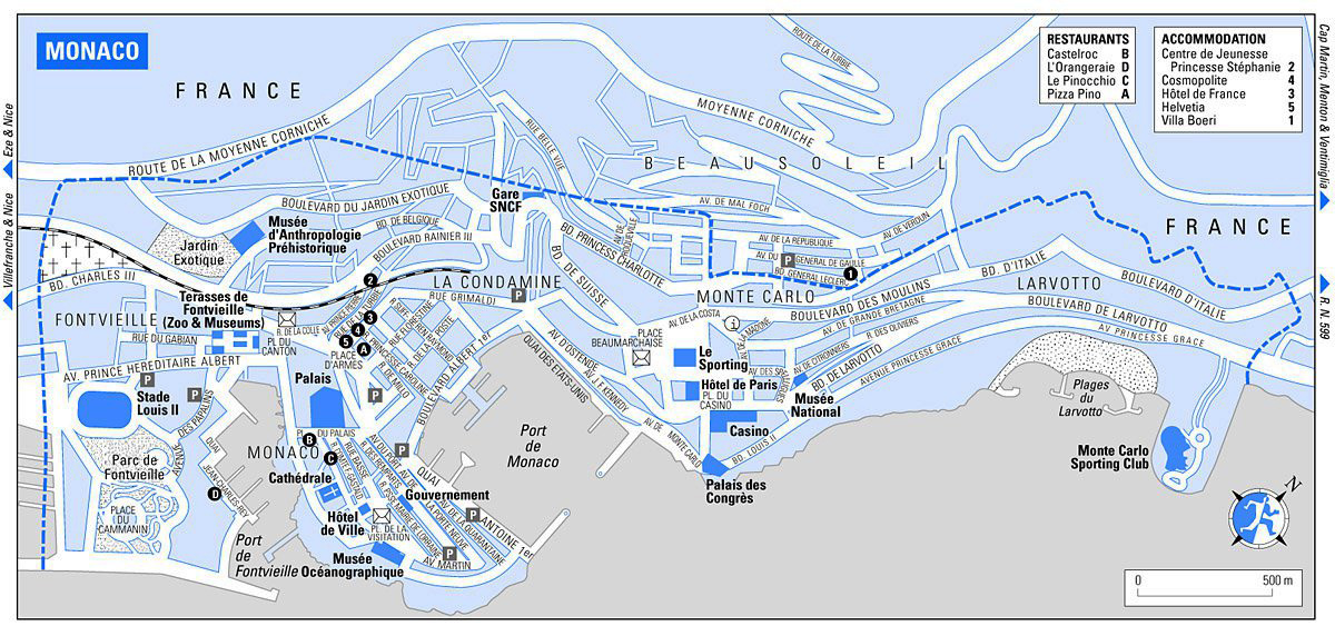 Road map of Monaco Monaco road map Vidianicom Maps of all