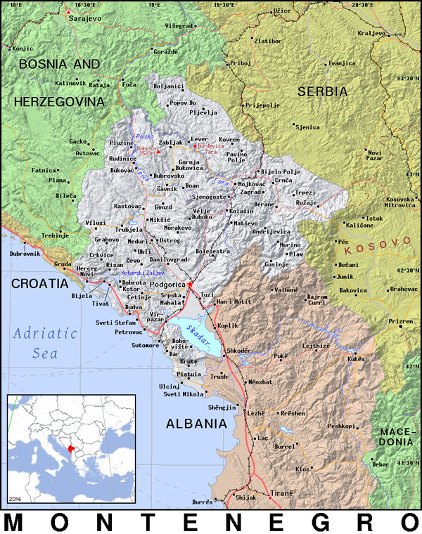 Detailed political map of Montenegro. Montenegro detailed political map.