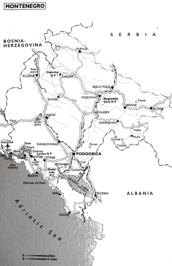 Highways map of Montenegro with airports. Montenegro highways map with airports.