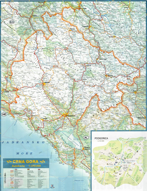 Large detailed roads map of Montenegro with all cities and villages.