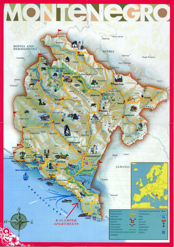 Large detailed tourist map of Montenegro.