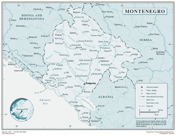 Large political map of Montenegro. Montenegro large political map.