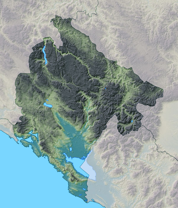 Large relief map of Montenegro. Montenegro large relief map.