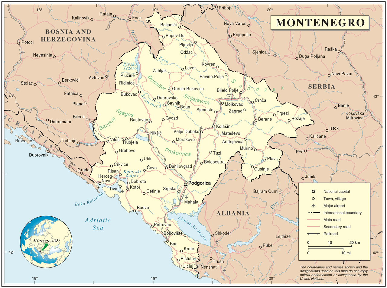 Political map of Montenegro Montenegro political map Maps of