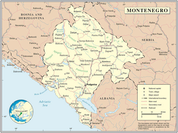 Political map of Montenegro. Montenegro political map.
