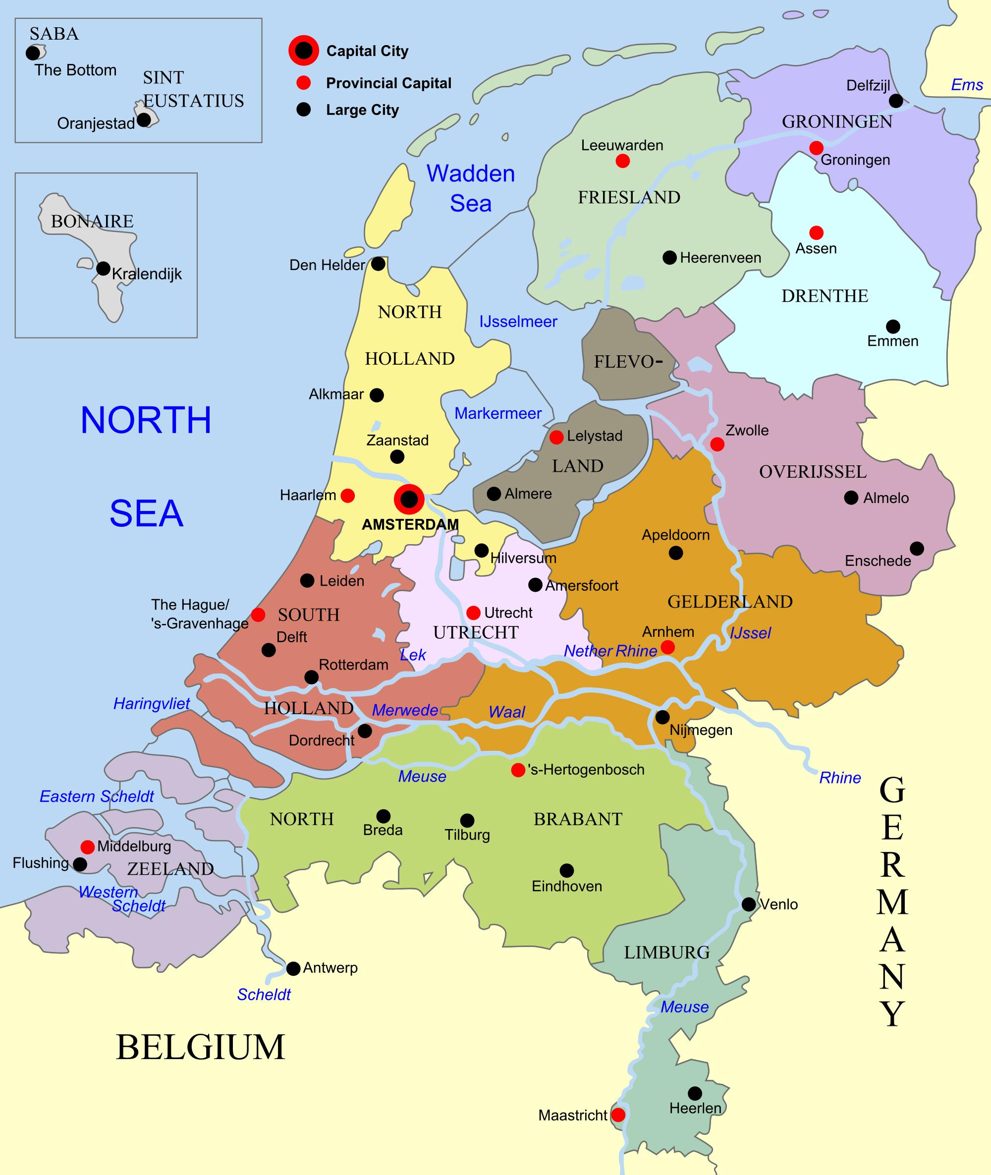 Administrative map of Netherlands (Holland). Netherlands ...