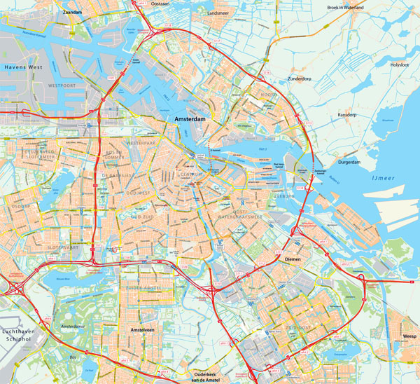 Detailed map of Amsterdam city. Amsterdam detailed map.