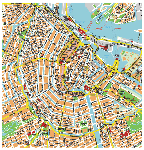 Detailed map of central part of Amsterdam city.