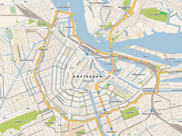 Detailed road map Amsterdam city center. Central part of Amsterdam city detailed road map.