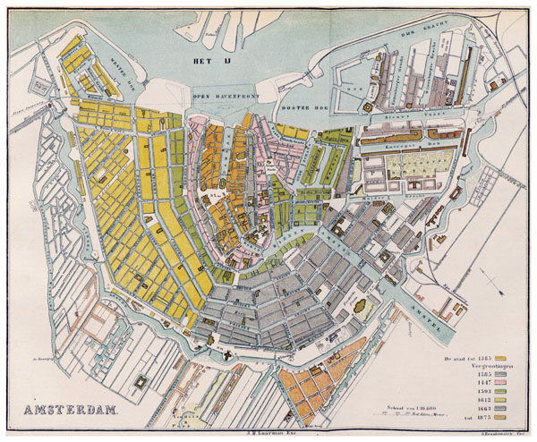 Large detailed old map of Amsterdam city (1385-1875).