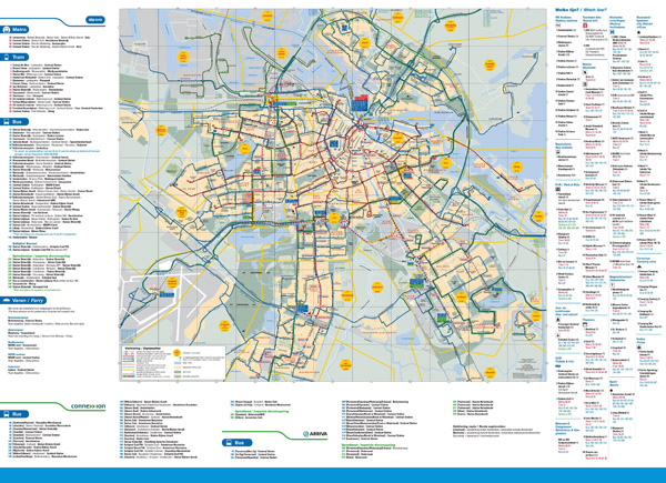 Large detailed public transport map of Amsterdam city.