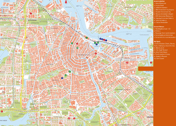 Large detailed top tourist attractions map of Amsterdam city.