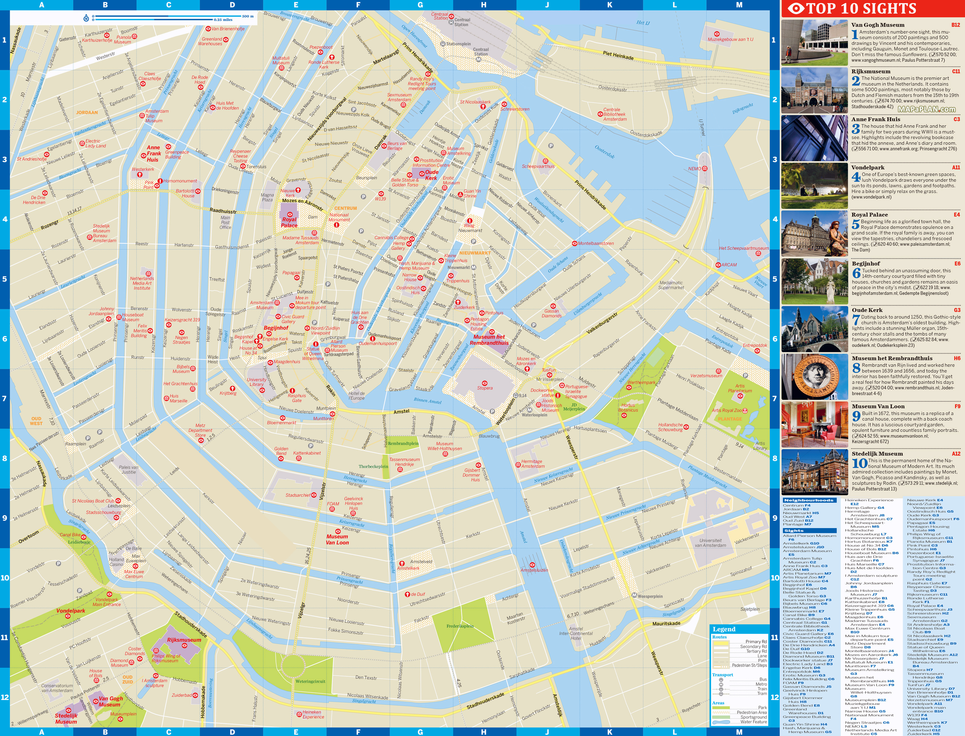 Large detailed top tourist attractions map of central part ...