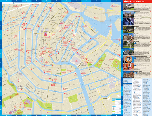 Large detailed top tourist attractions map of central part of Amsterdam city.
