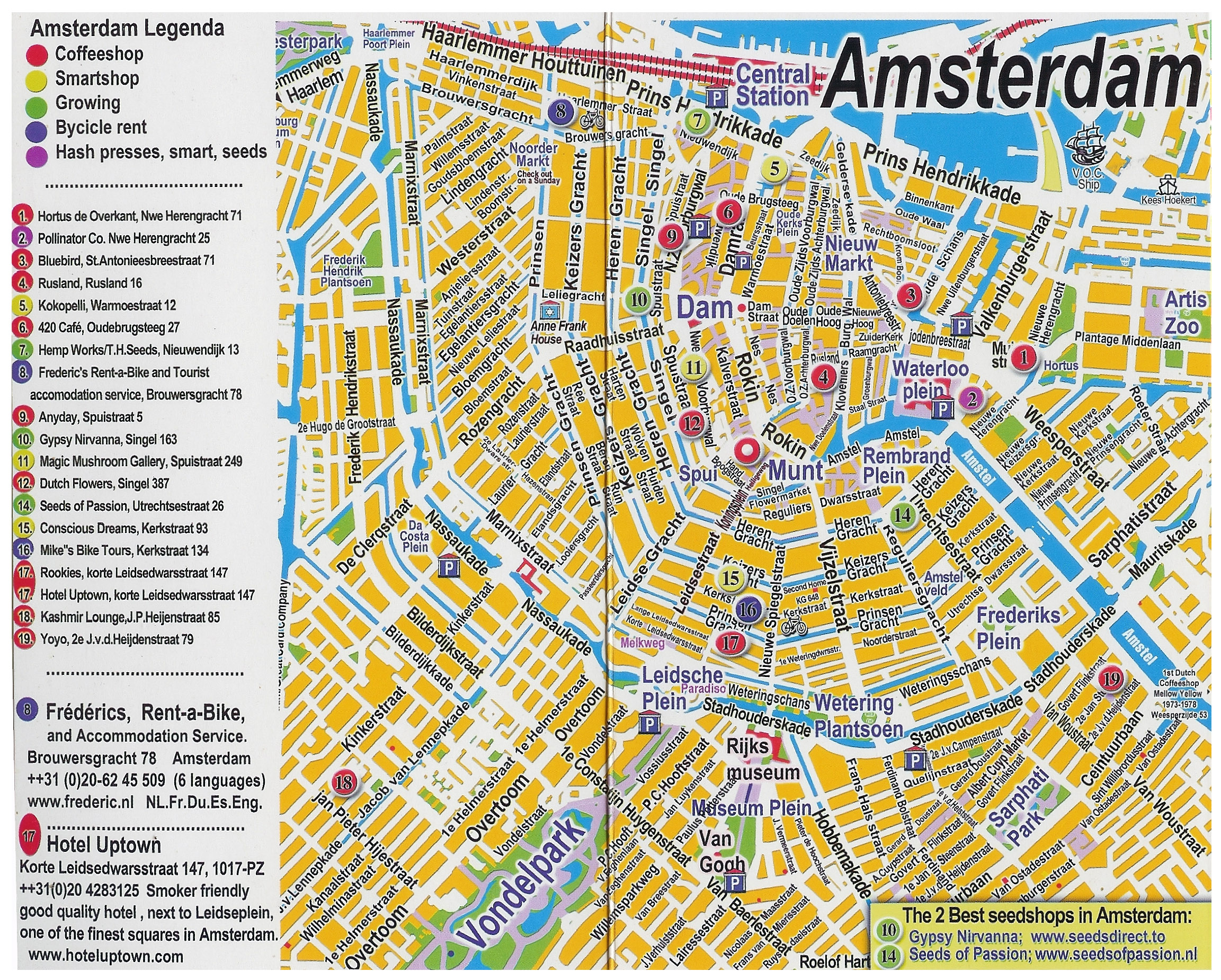Large detailed tourist map of central part of Amsterdam city