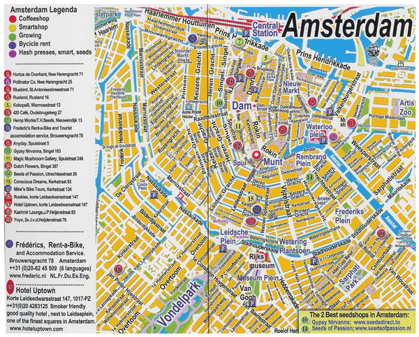 Large detailed tourist map of central part of Amsterdam city.