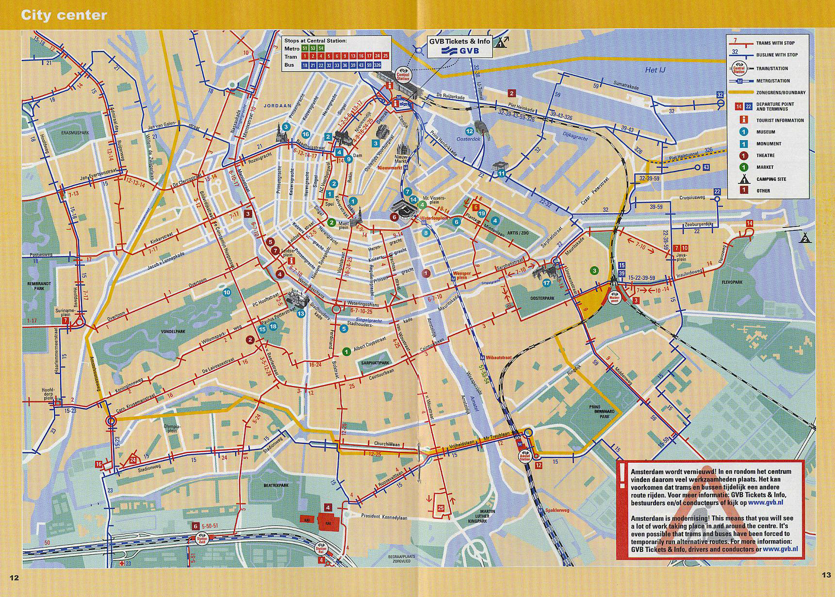Large detailed tram and metro map of central part of Amsterdam city