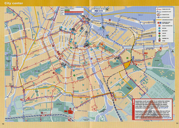 Large detailed tram and metro map of central part of Amsterdam city.