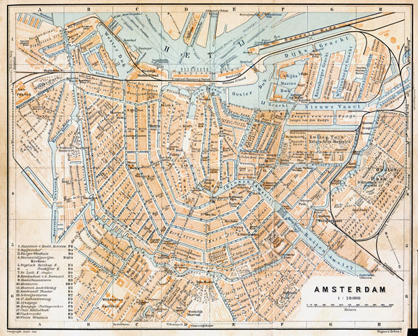 Large old road map of Amsterdam city. Amsterdam large old road map.