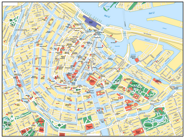 Large road map of central part of Amsterdam city with street names.