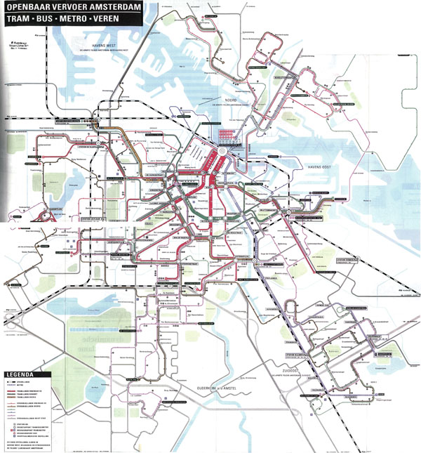 Large scale detailed tram, bus and metro map of Amsterdam city.