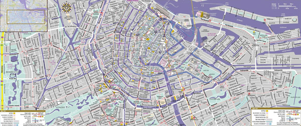 Large scale tourist attractions map of central part of Amsterdam city.