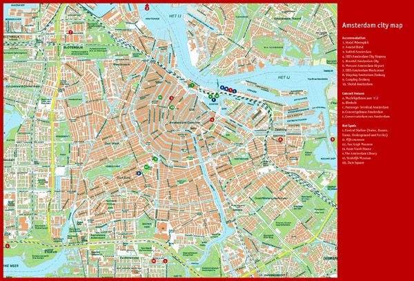 Large top tourist attractions map of Amsterdam city.