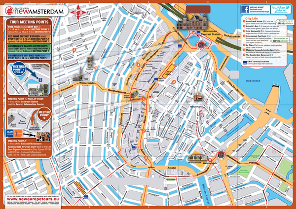 Large top tourist attractions map of central part of Amsterdam city.