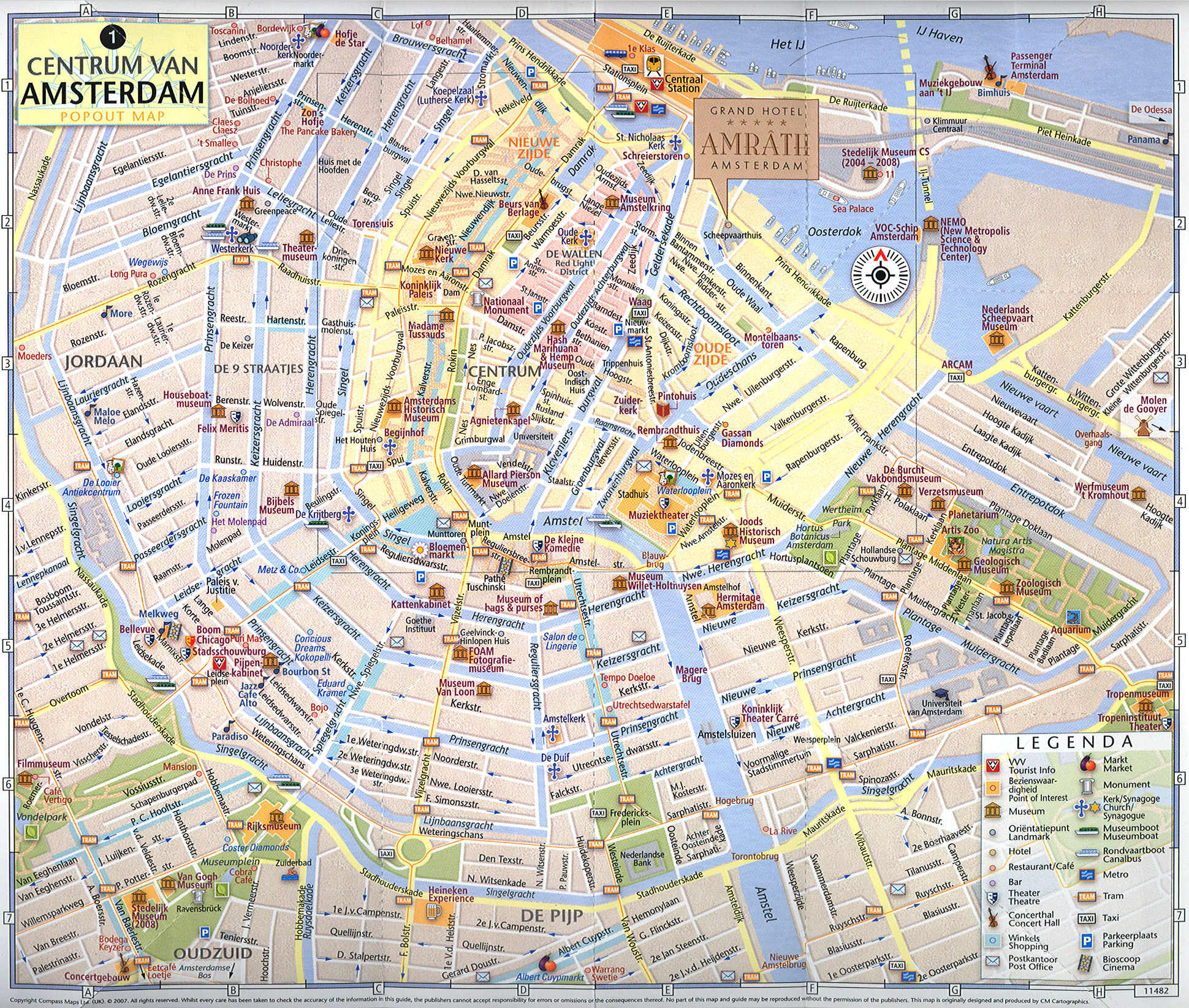 Large tourist map of central part of amsterdam city vidiani large tourist map of central part of amsterdam city sciox Images