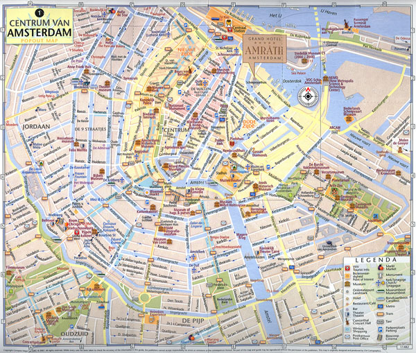 Large tourist map of central part of Amsterdam city.