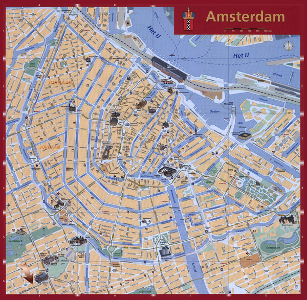 Detailed tourist map of Amsterdam city. Amsterdam city detailed tourist map.