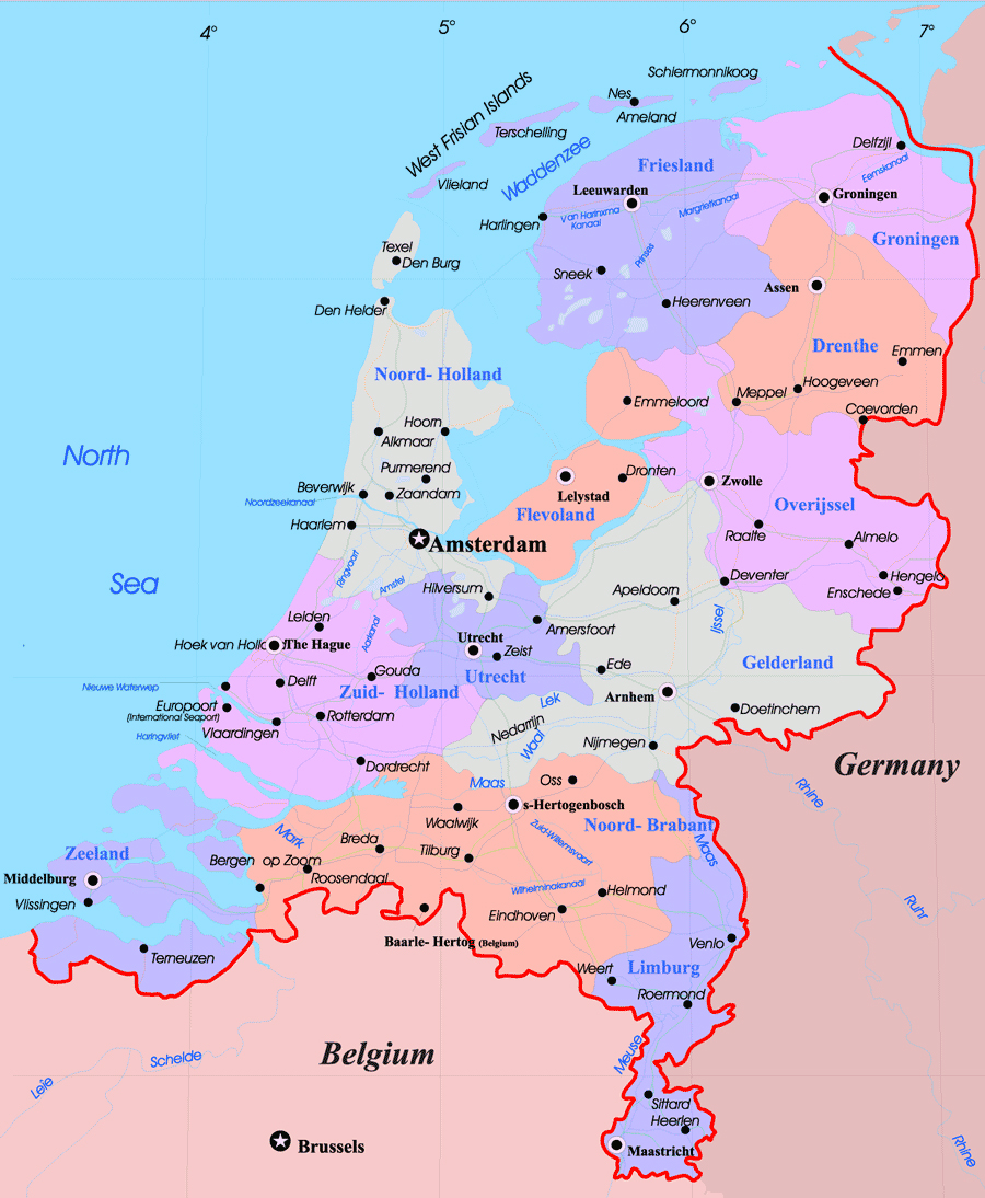 Large administrative map of Netherlands with major cities Vidiani